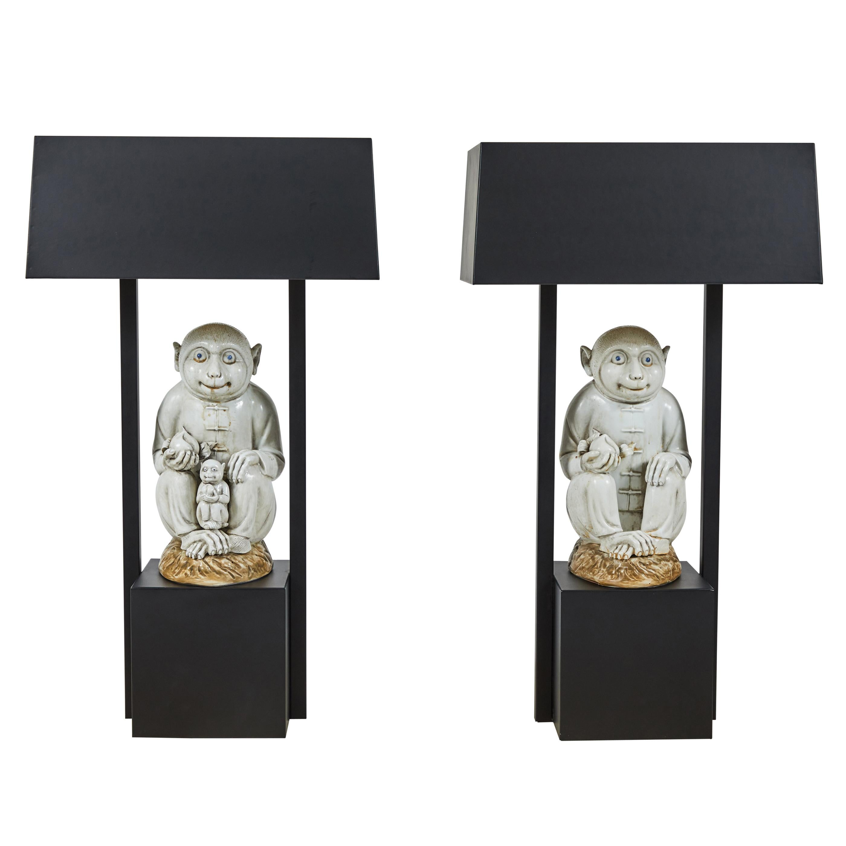 Pair of Table Lamps Featuring Chinese Monkeys Designed by Billy Haines