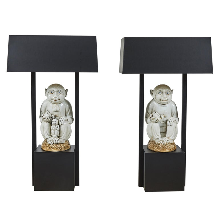 Pair of Table Lamps Featuring Chinese Monkeys Designed by Billy Haines For Sale