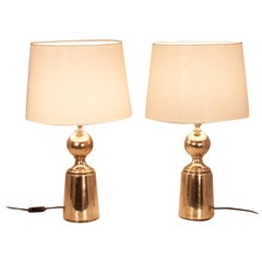 Pair of Table Lamps from 1970s by Metalarte, Brass and White Lampshade