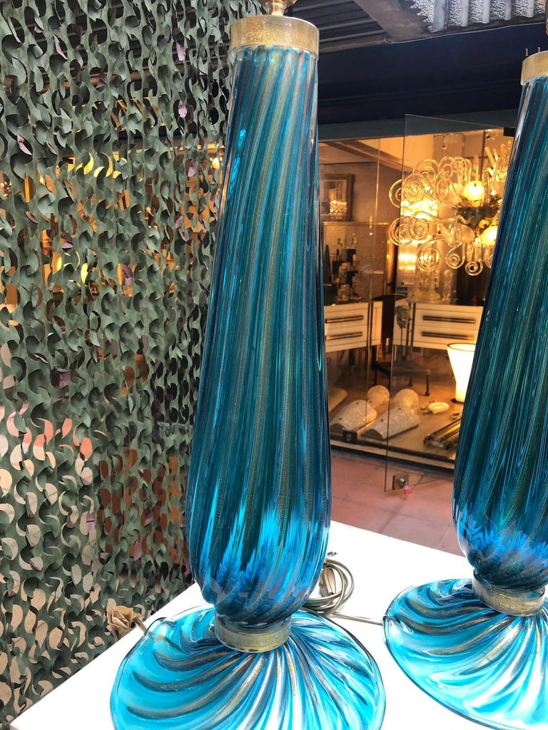 Italian Pair of Table Lamps in Blue Murano Glass For Sale