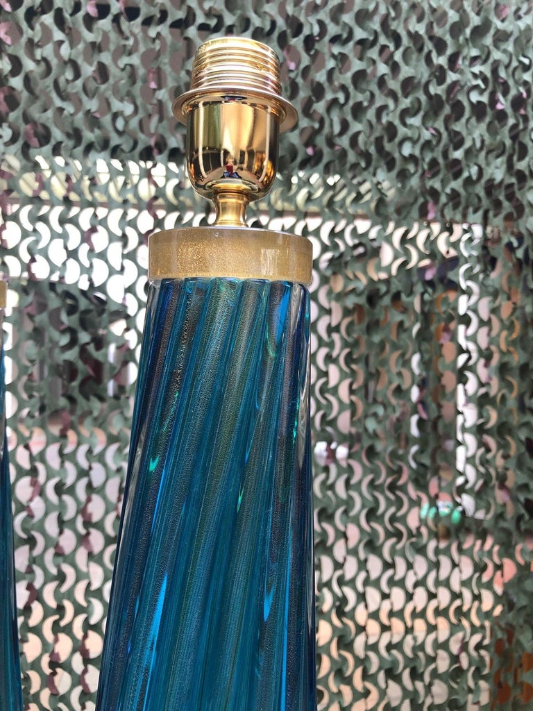 Late 20th Century Pair of Table Lamps in Blue Murano Glass For Sale