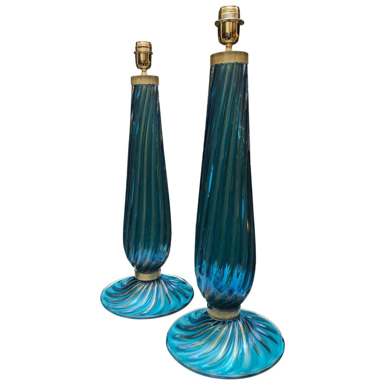 Pair of Table Lamps in Blue Murano Glass For Sale
