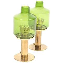 Pair of Table Lamps in Brass and Glass by Hans Agne Jacobsson, Made in Sweden
