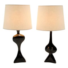 "Pair of Table Lamps in Bronze by Jacques Jarrige ""Adam and Eve"""
