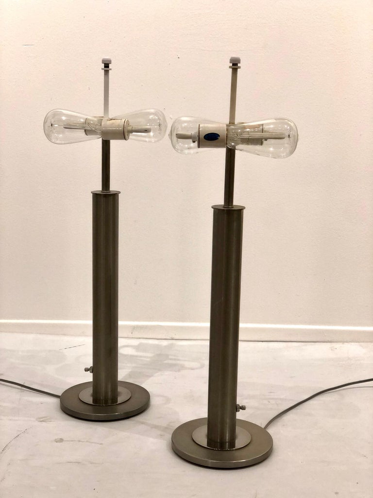 American Pair of Table Lamps in Brushed Steel and Chrome by Nessen Studios For Sale