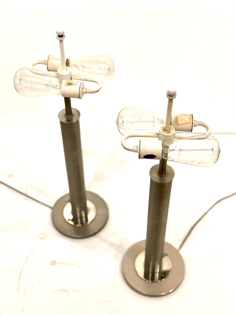 Pair of Table Lamps in Brushed Steel and Chrome by Nessen Studios In Good Condition For Sale In San Diego, CA