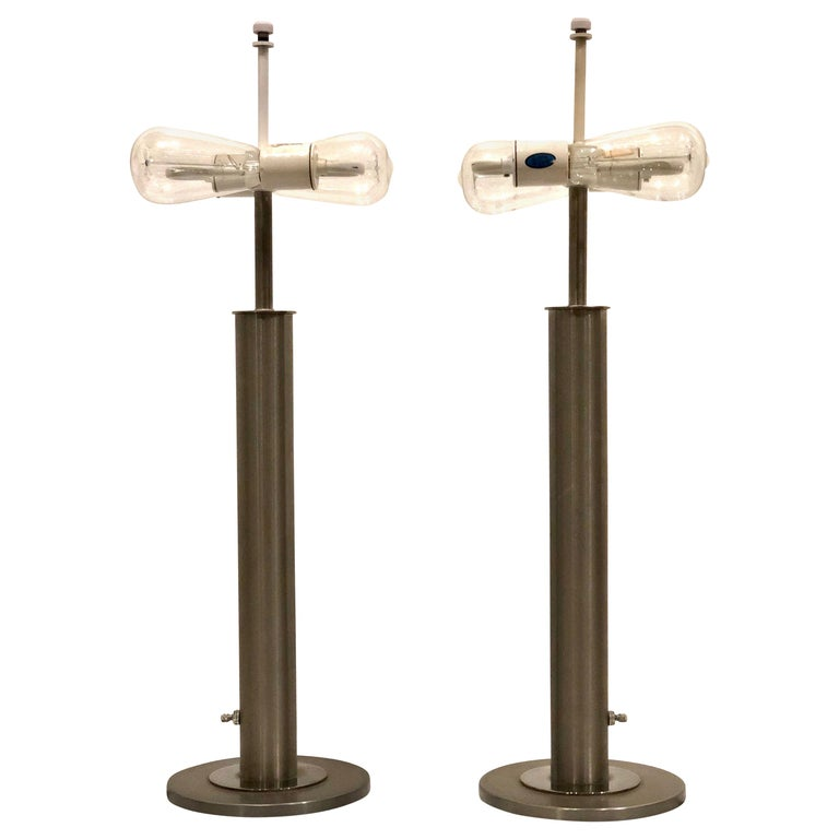 Pair of Table Lamps in Brushed Steel and Chrome by Nessen Studios For Sale