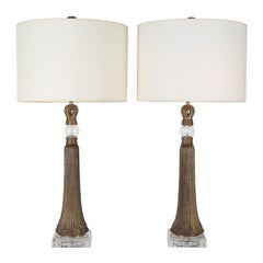 Pair of Table Lamps in Etched Bronze and Glass, 1950s