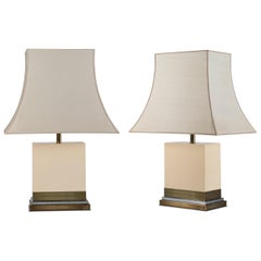 Pair of Table Lamps in Lacquered Wood by Jean Claude Mahey, Originals Screens