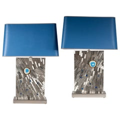 Pair of Table Lamps in Mosaic Stainless Steel and Agates by Stan Usel