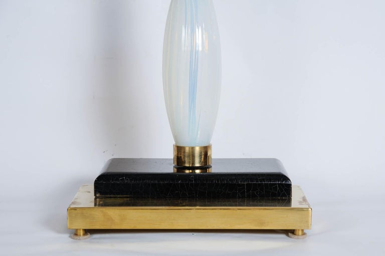 Italian Pair of Table Lamps in Murano Glass and Brass For Sale
