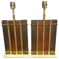 Pair of Table Lamps in Murano Glass and Brass