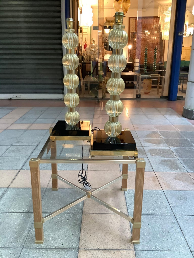 Pair of Table Lamps in Murano Glass In Good Condition For Sale In Saint ouen, FR