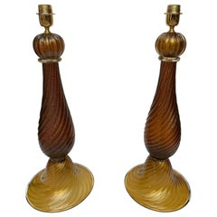 """Pair of Table Lamps in Murano Glass Signed """"Toso"""""""
