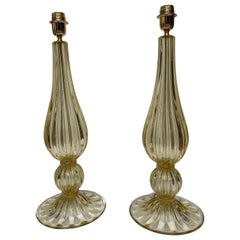"Pair of Table Lamps in Murano Glass Signed ""Toso"""