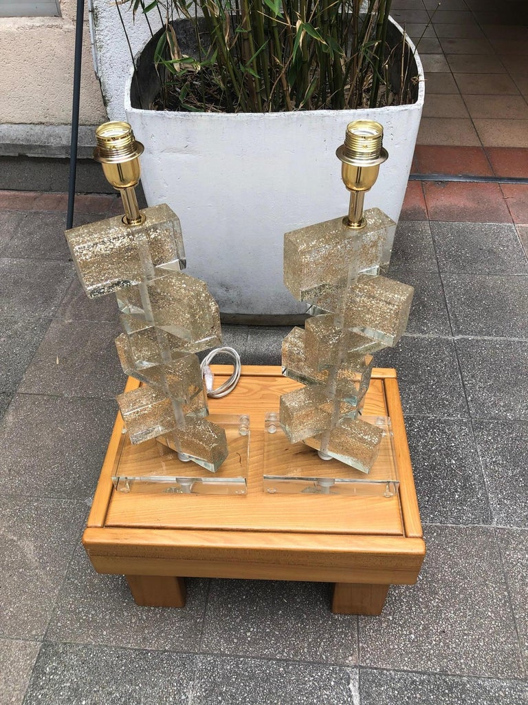 Pair of Table Lamps in Murano Glass Signed Toso Murano In Good Condition In Saint ouen, FR