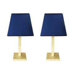 Pair of Table Lamps in Parchment Designed by Michel Leo