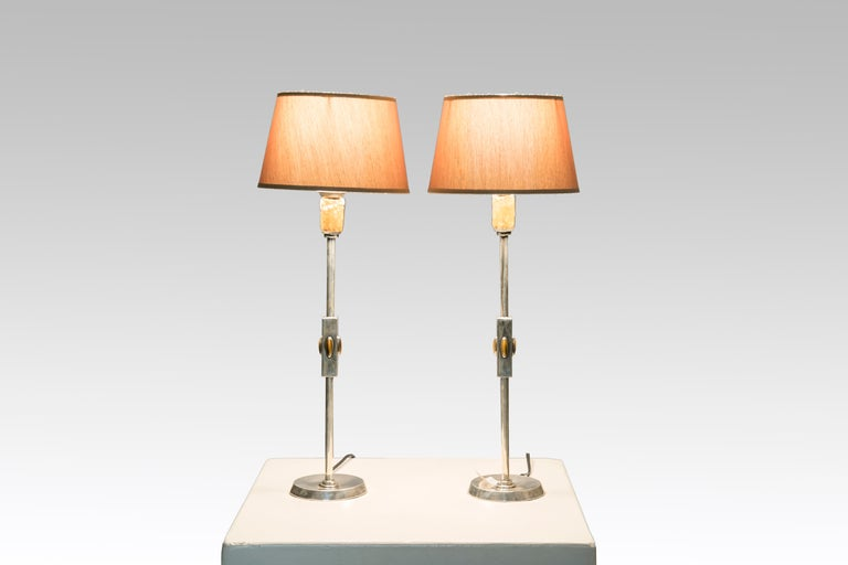 Pair of table lamps in silver and tiger eyes gemstone from the 1960s, Barcelona stamp silver. New rewired and shapes. In perfect conditions.