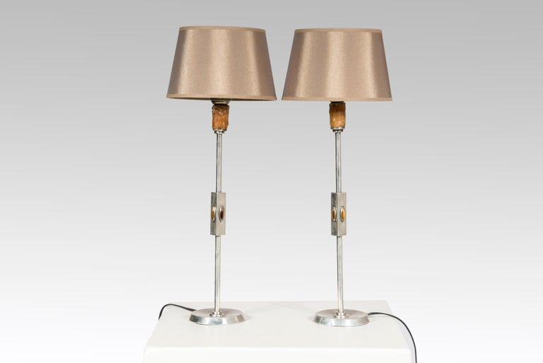 Pair of Table Lamps in Silver and Tiger Eyes, 1960s In Good Condition For Sale In Brussels, BE