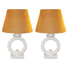 Pair of Table Lamps in the Style of Jean-Michel Frank, French, circa 2010