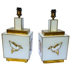 Pair of Table Lamps in White and Gold Tinted Glass