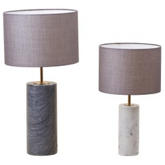 Pair of Table Lamps in White and Grey Marble, Germany