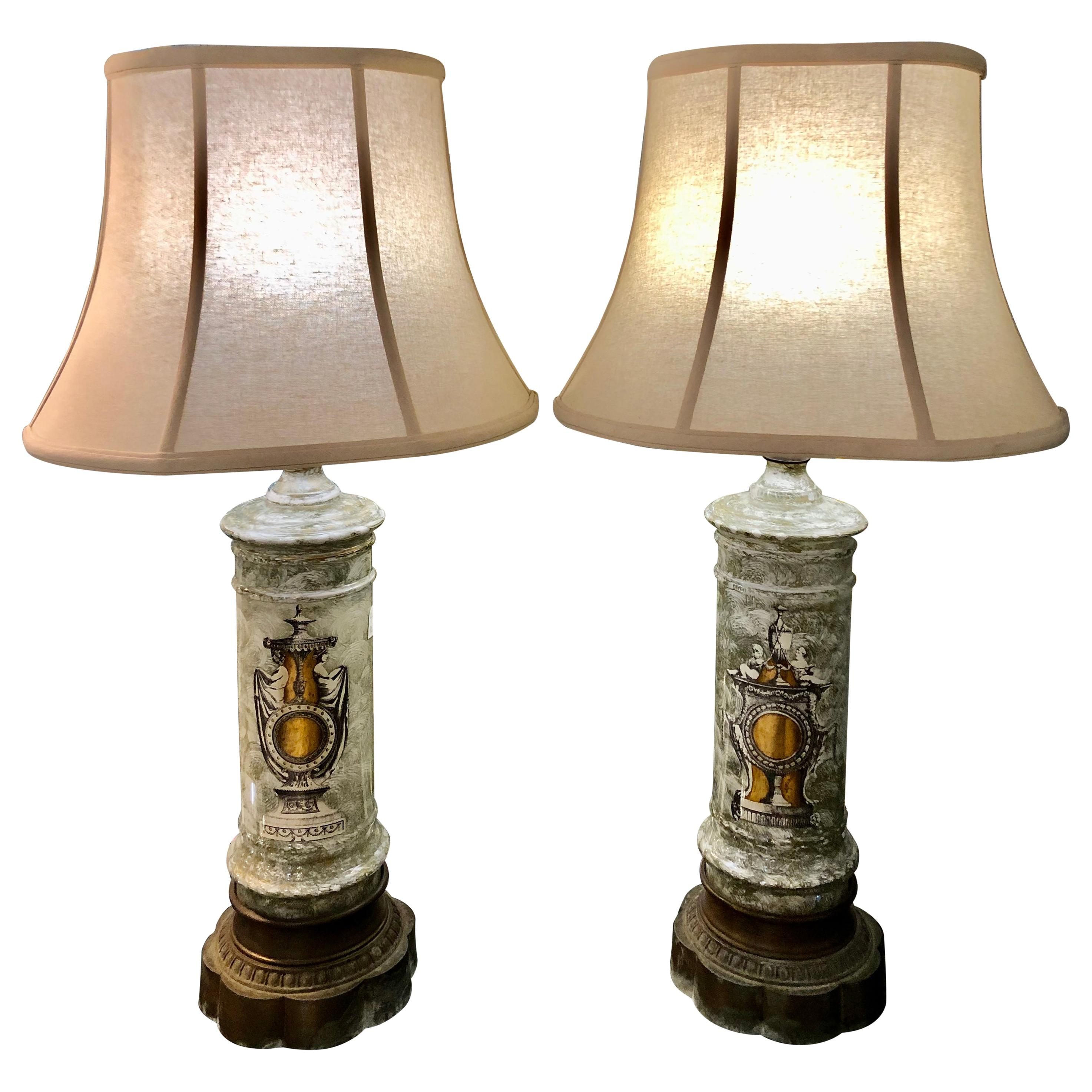 Pair of Table Lamps Painted Decoupage Decorative Glass Hollywood Regency Era