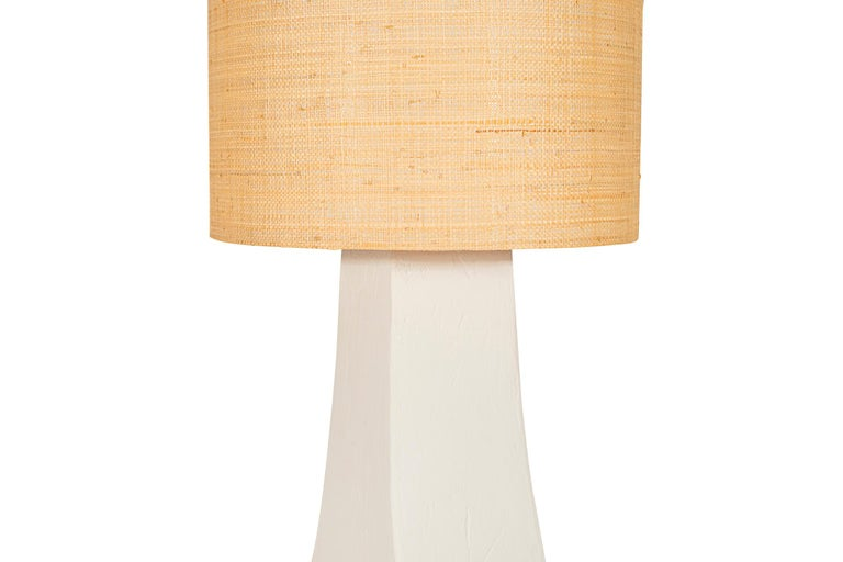 Mid-Century Modern Pair of Table Lamps, Plaster and Rattan, France, circa 1970 For Sale