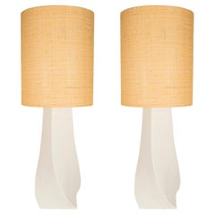 Pair of Table Lamps, Plaster and Rattan, France, circa 1970