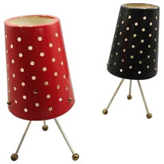 Pair of Table Lamps, Shade in Lacquered and Perforated Metal, circa 1950