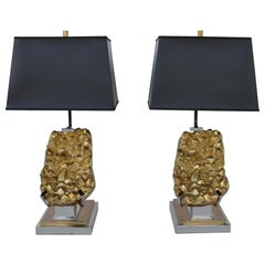 Pair of Table Lamps with Brass Chrome with Black Shade, 2000
