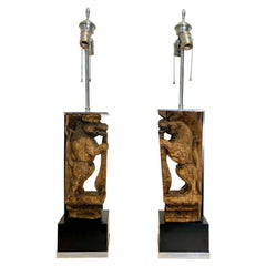 Pair of Table Lamps with Hand Carved Temple Lions Mounted in Nickel
