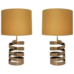 Pair of Table Lamps with Helical Base in Brushed Steel by Jacques Charpentier