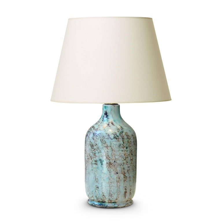 Modern Pair of Table Lamps with Stylish Green Tint Enameling by Vallauris Ceramist For Sale