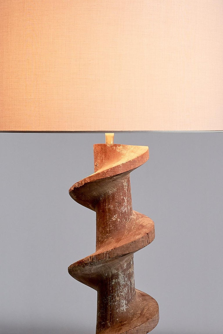 Pair of Table Lamps with Wooden Spiral Screw Base, Belgium, Late 19th Century 5