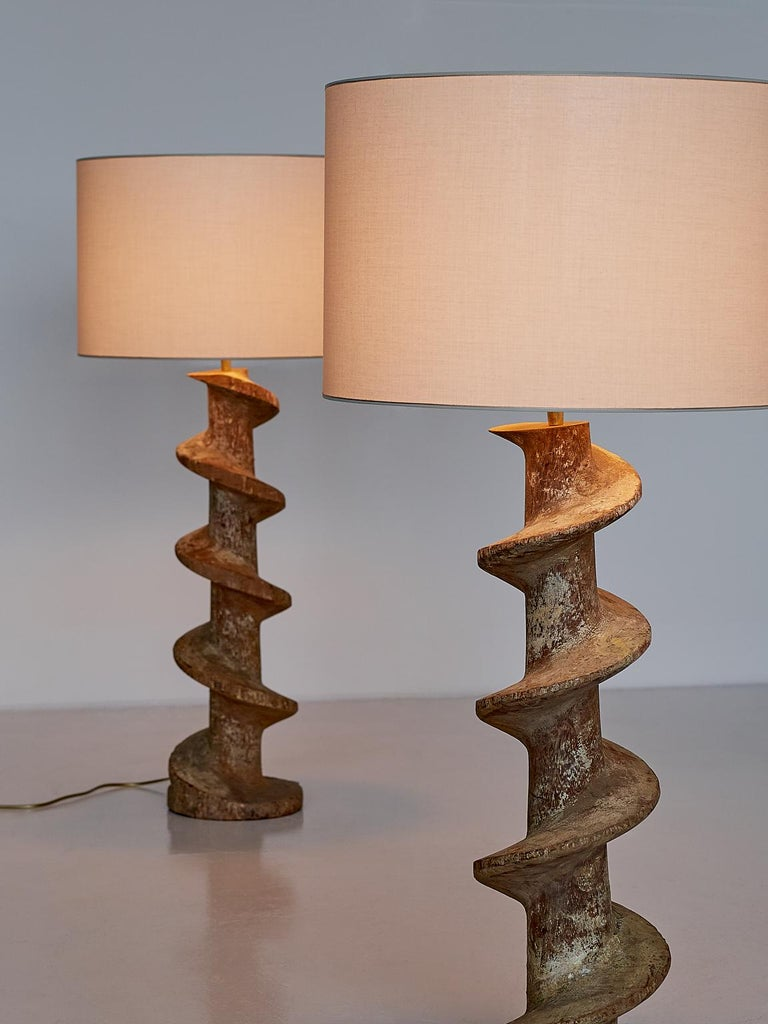 Pair of Table Lamps with Wooden Spiral Screw Base, Belgium, Late 19th Century 7