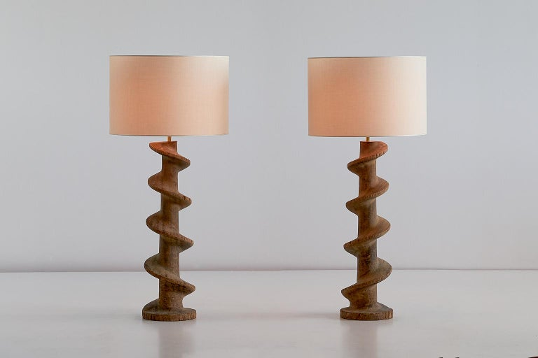 Rustic Pair of Table Lamps with Wooden Spiral Screw Base, Belgium, Late 19th Century For Sale