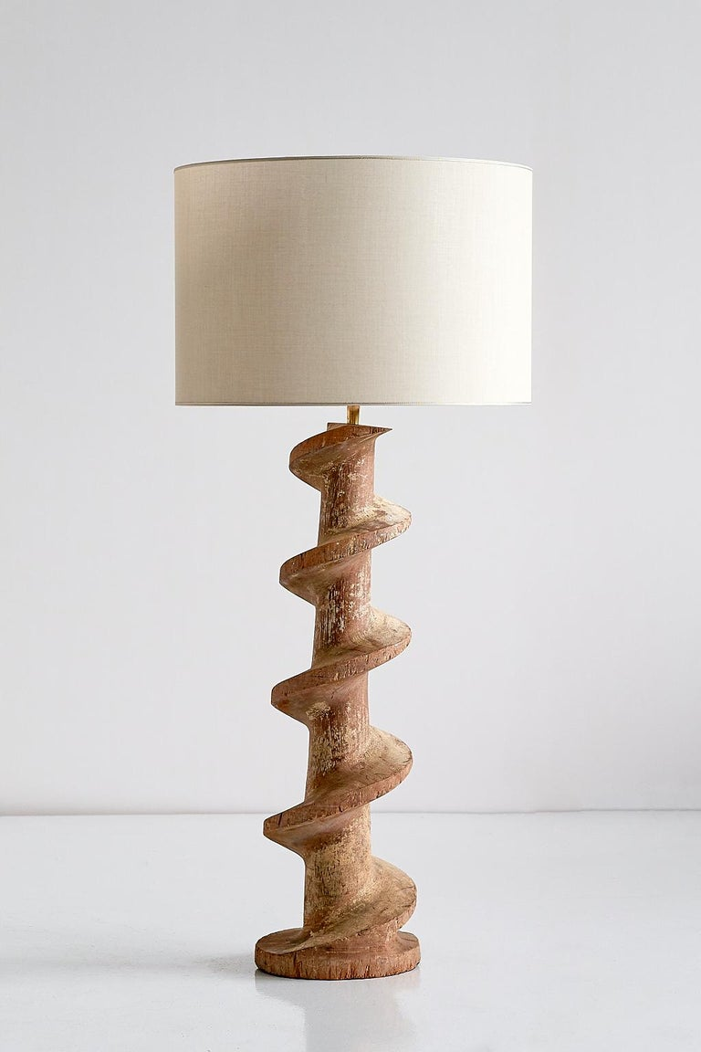 Belgian Pair of Table Lamps with Wooden Spiral Screw Base, Belgium, Late 19th Century