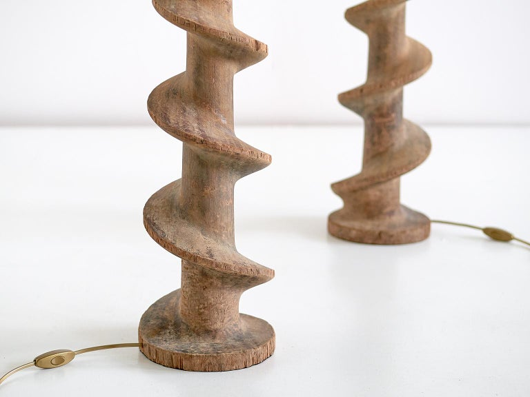 Pair of Table Lamps with Wooden Spiral Screw Base, Belgium, Late 19th Century In Good Condition For Sale In The Hague, NL