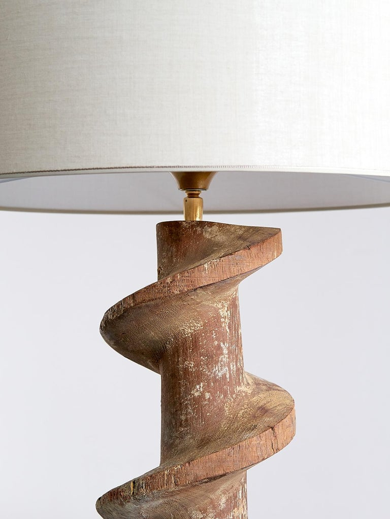 Fabric Pair of Table Lamps with Wooden Spiral Screw Base, Belgium, Late 19th Century
