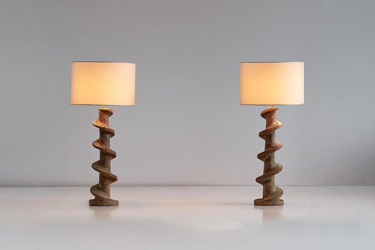 Pair of Table Lamps with Wooden Spiral Screw Base, Belgium, Late 19th Century 2
