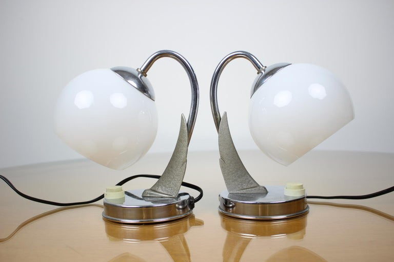Czech Pair of Table Lamps/Zukov, 1950s For Sale