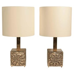 Pair of Table Lights 60s Italian Design by Frigerio Brass Structure Cream Shades