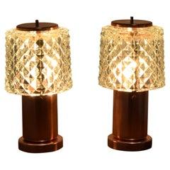 Pair of Table Small Lamps by Kamenicky Senov, Preciosa, 1970s