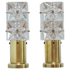 Pair of Table Small Lamps by Kamenicky Senov, Preciosa, 1970's