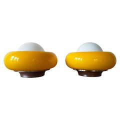 Pair of Table, Wall or Ceiling Lamps Meblo, Designed by Harvey Guzzini, 1970s