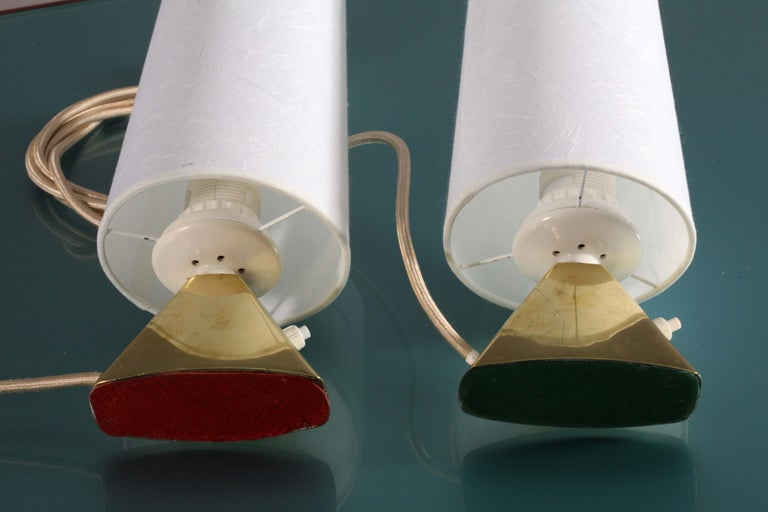 Mid-Century Modern pair of tablelamps by Modernist J.T.Kalmar Vienna 1950 For Sale