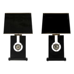 Pair of Tables Lampes Black Resin and Pyrite Sphere by Stan Usel