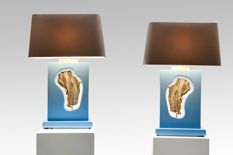 Pair of Tables Lamps Blue Resin and Agate by Stan Usel For Sale 1