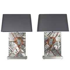 Pair of Tables Lamps in Mosaic Stainless Steel and Meteorite by Stan Usel